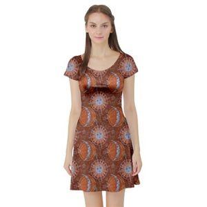 3/$25Cowcow Sun And Moon Short Sleeve Skater Dress